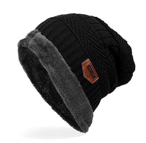 (Ensnovo Mens Winter Beanies Hat Soft Lined Thick Wool Knit Skull Cap,Black)