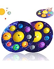 2pc Space Dimple Fidget Popper Solar System Planets Dimple Pop Fidget Toys Space Astronomy Educational Toys for Party Favors Birthday Gift