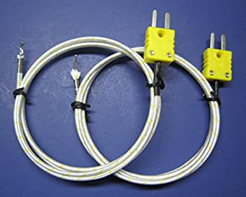 K-Type Thermocouple PK-1000 Temperature Sensor Probe w. High Temperature Fiber Insulation 1832F or 1000C (Set of 2)