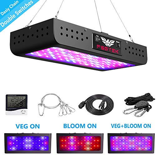600W LED Grow Light Double Switch with Daisy Chain,Temperature and Humidity Monitor, Adjustable Rope, FSGTEK Full Spectrum Grow Lamp for Indoor Hydroponic Plants Vegetative and ()