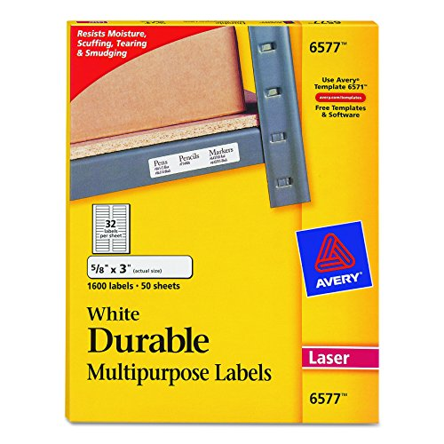 """Cheap Avery Durable White Cover Up ID Labels for Laser Printers, 0.625"""" x 3"""", Pack of 1600 (6577)"""