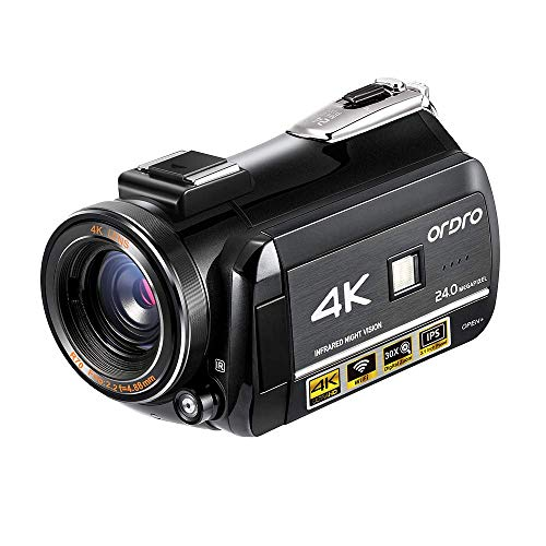 4K Ultra HD Camcorder ORDRO 4K Video Camera 1080P 60FPS WiFi Video Camera 3.1''IPS Touch Screen Camcorder with IR Night Vision, Pause Function, Remote Control and 2 Batteries