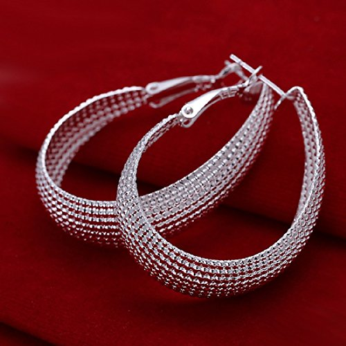 925 silver plated earings big oval with net surface - Wholesale Gemstone Earrings