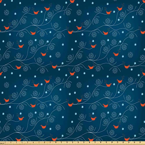 Ambesonne Winter Fabric by The Yard, Orange Birds on Leafless Tree Branches Snowy Woods Nature, Microfiber Fabric for Arts and Crafts Textiles & Decor, 1 Yard, Petrol Blue Orange White