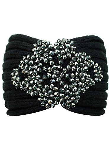 Black Knit Headband With...