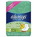 Always Ultra Thin, Size 2, Super Pads With Wings, Unscented, 42 Count (Pack of 3)