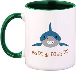 Colorful Coffee Mug Shark Doo Funny Animals Ocean and Sea Life Humor Laugh Ceramic Tea Cup 11 Oz Green Inner Handle