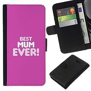 KLONGSHOP // Tirón de la caja Cartera de cuero con ranuras para tarjetas - La mejor mamá mamá Ever Madre Madres - Sony Xperia M2 //
