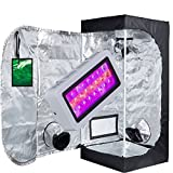 TopoLite Grow Tent Kit LED 300W Grow Light Kit + Multiple Size Grow Tent Dark Room Hydroponic Indoor Growing Plants Syetem (LED300W+24''x24''X48'' w/ window)