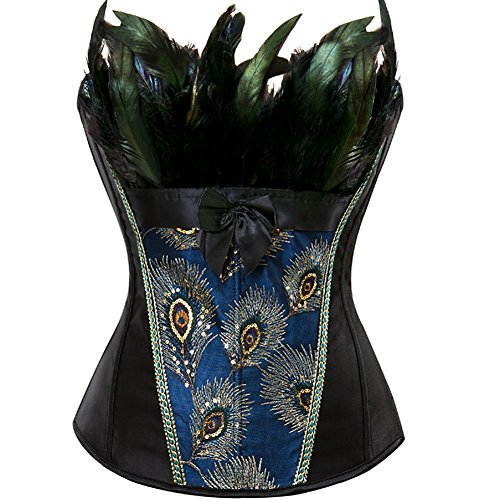 Overbust Corsets for Women Lingerie Embroidery Bustiers Sexy Peacock Nobility Feather Burlesque Tops Plus Size Black 3XL -