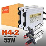 Engync® 55W AC H4 (HB2) (9003) Low Beam Halogen High Beam Xenon HID Conversion Kit with Premium Ballasts and 3 Year Warranty Bright White with a hint of yellow Color (4300K)