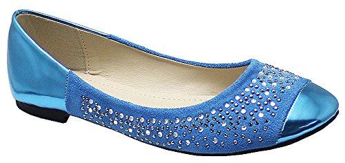 Ladies Flat Women Diamante Ballerina Loafers Dolly Pump Ballet Slip On Shoes 3-8 Blue