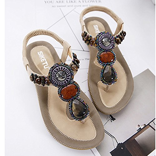 ee1c4083640 SHIBEVER Sandals Women Bohemia Beads Summer Shoes Wild Casual Beach Flats  Apricot 10
