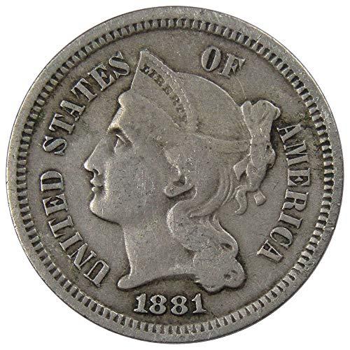 1881 3c Nickel Three Cent Piece US Coin VF Very Fine