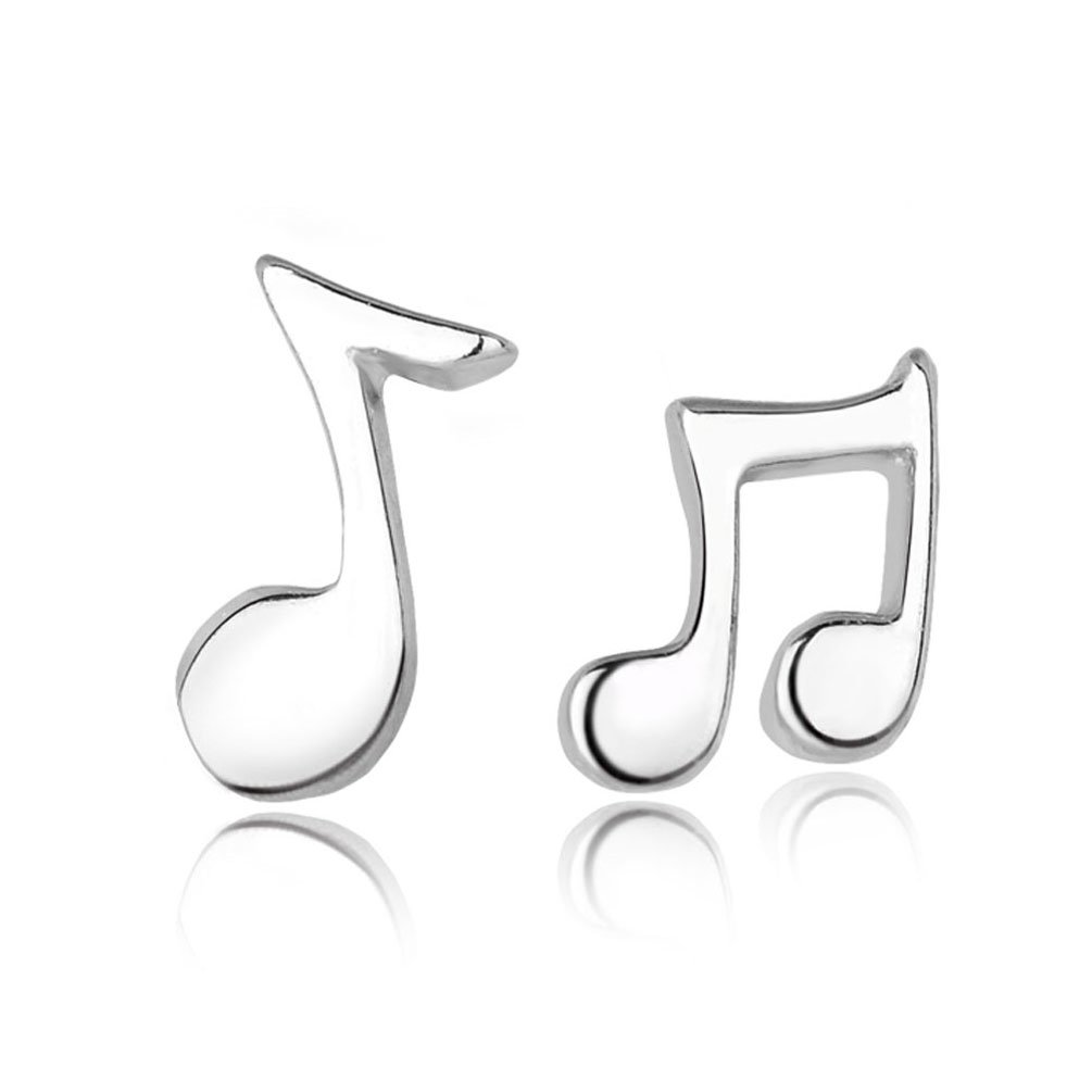 925 Sterling Silver Music Notes Earrings-Lady Love Earrings (Allergy-Prevention) CIShop SW02