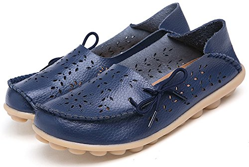 Kvinners Floral Leather Navy Sty Floral Loafer ons Sko Flats Fangsto Slipper ons Loafer Slip 2 Women's 2 Fangsto Marinen Med Med Tøffel Slip Skinn Flats Sty Shoes 4q6xwO