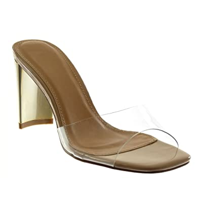 Angkorly Chaussure Mode Mule Sandale Femme Plastique Transparent Doré Talon  Haut Bloc 9.5 cm - Beige dbd2a4c74186