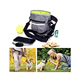 Simply Silver - Pet Dog Puppy Snack Easily Carries Pet Toys Training Food Treat Bag Waist Pouch – Built-In Poop Bag Dispenser – 3 Ways To Wear – Grey + INCLUDED POOP ROLL