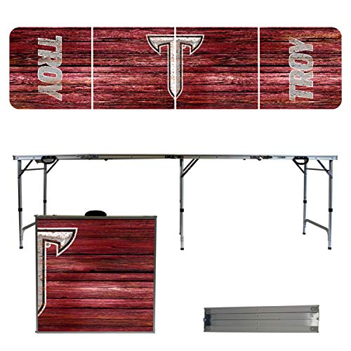 Victory Tailgate NCAA Troy University 8'x2' Foldable Tailgate Table with Adjustable Hight and Spill Resistant Sealant - Weathered Series ()