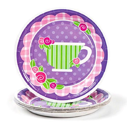 Girly Tea Party Dessert Plates (8 pc) by Fun Express (Tea Theme)