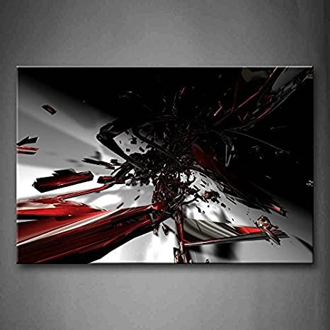 Amazon Com First Wall Art Abstract Fractal Black Red White Wall Art Painting The Picture Print On Canvas Abstract Pictures For Home Decor Decoration Gift Posters Prints