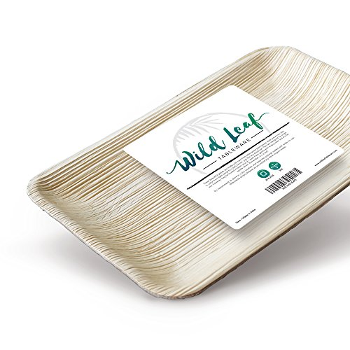 Disposable Palm Leaf Plates, 25 Pack/6.3 x 9.5 Inch/Rectangular. Compostable, Biodegradable Party Platter Trays - Comparable to Bamboo Wood Fiber - Eco Friendly Alternative to Plastic (Platter Farm)