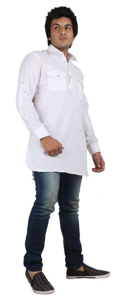 Royal Kurta Men's Fine Cotton Short Pathani Kurta For Denim's 42 White by Royal (Image #4)