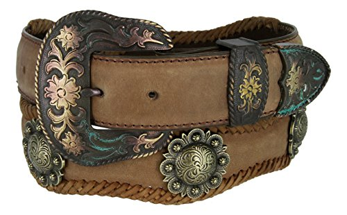 [Mens Brass Classic Berry Concho Scalloped Genuine Leather Belt(Brown,60)] (3 Piece Leather Concho Belt)