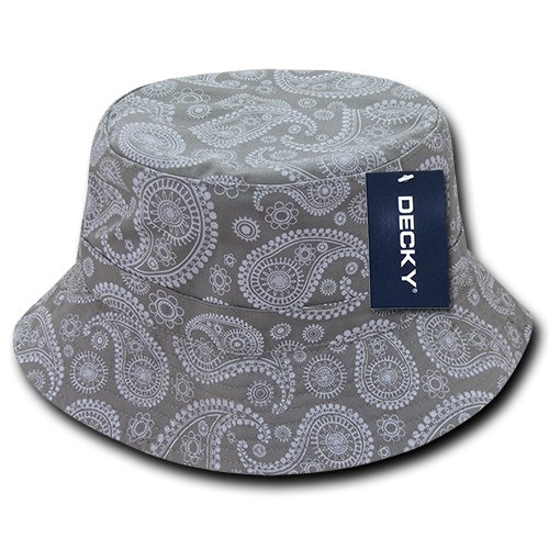 DECKY 459-PL-GRY-07 Paisley Bucket Hat, Grey, L_XL Decky Brands Group