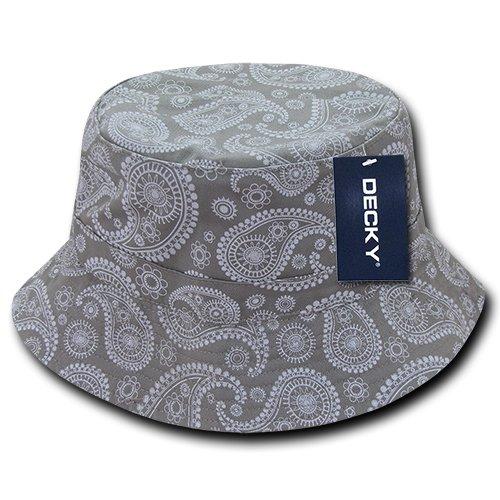 DECKY 459-PL-GRY-07 Paisley Bucket Hat, Grey, L_XL ()