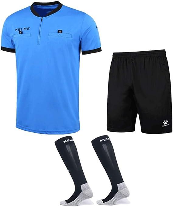 KELME - Conjunto de Camiseta de árbitro de fútbol – Incluye Camiseta de árbitro, Pantalones Cortos y Calcetines – Uniforme Profesional, S, Azul: Amazon.es: Deportes y aire libre