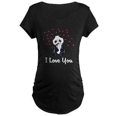 4749286b8 CafePress Panda Bear Love Cotton Maternity T-Shirt, Side Ruched Scoop Neck  Black