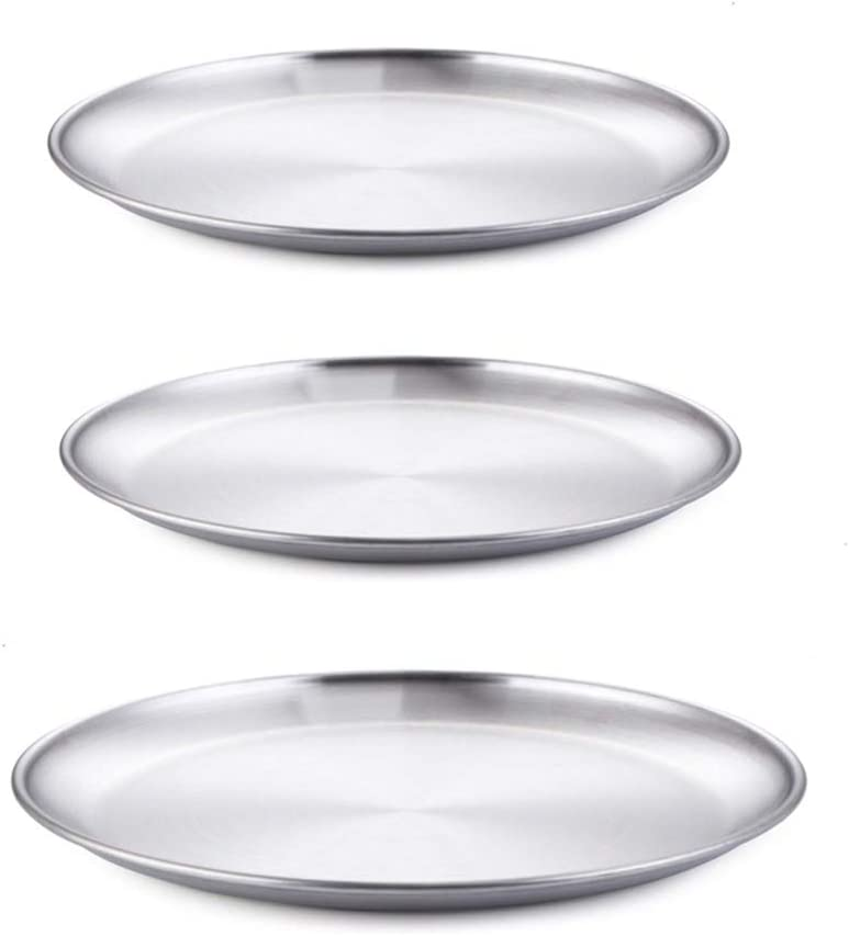 Enwinner 3 Pcs Stainless Steel Buffet Serving Platters Pizza Pans Tray Stainless Steel for Oven Baking Appetizer Salad Server Set, 9 &10 inch(3 pcs serving platters)