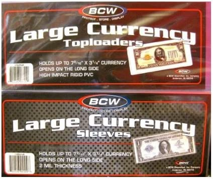 BCW Deluxe Vinyl Semi-Rigid Currency Holders USA! 25 Large Bill Holder Size