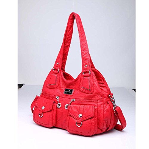 Angelkiss Pockets and �� Red 3 Purses Backpack Women 2 Handbags Zippers Multi 1593 Bags Shoulder Top Leather rqrZIwY