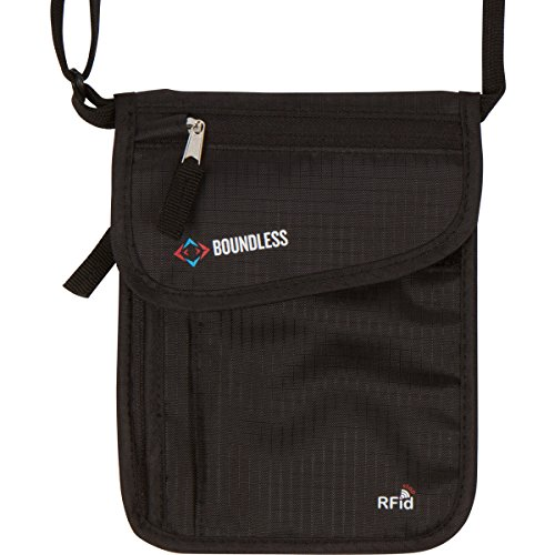 Boundless Neck Wallet with RFID Blocking - Concealed Travel Pouch & Passport Holder (Black)