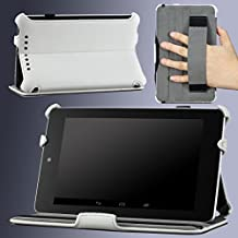 Google Nexus 7 Case - MoKo Slim-fit Cover Case for Google Nexus 7 Android Tablet by Asus, WHITE (with Automatic Sleep/Wake Function, and Elastic Hand Strap)