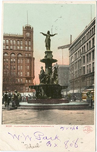 Vintage Postcard Print | Tyler- Davidson Fountain, Cincinnati, Ohio, 1898 | Historical Antique Fine Art ()