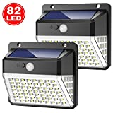 Solar Lights Outdoor, Yacikos 82 LED Solar Security Lights Motion Sensor 2000mAh Super Bright Solar Powered Lights Waterproof Solar Wall Lights 270°Wide Angle with 3 Modes for Garden [2 Pack]