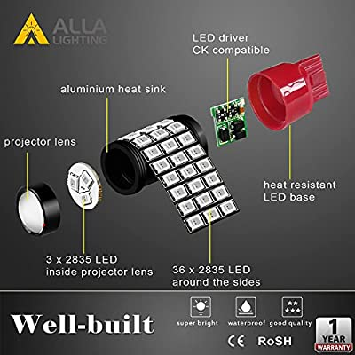 Alla Lighting 7440 7443 LED Brake Stop Tail Lights Bulbs Super Bright T20 39-SMD High Power 2835 Chipsets W21W Red Turn Signal Light Replacement for Cars Trucks: Automotive