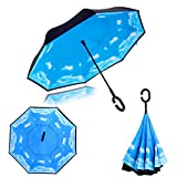 Double Layer Wind Proof UV Proof Reverse Folding Inverted Umbrella Travel Umbrella with C Shape Handle and Carrying Bag S