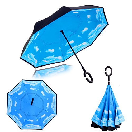Double Layer Wind Proof, UV Proof Reverse Folding Inverted Umbrella Travel Umbrella with C Shape Handle and Carrying Bag-Sky Blue