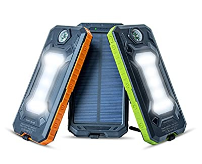 Solar Charger NVR DEAD 8000mAh Rugged Portable Charger For Everyday, Outdoors & Survival. Solar Power Bank Battery Pack w/ Dual USB & LED + FREE Carabiner, Survival Compass & Charging Cord by NVR DEAD
