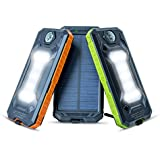 Solar Phone Charger Power Bank – NVR DEAD 8,000mAh Portable USB Solar Battery Pack – Outdoors & Survival, Emergency for iPhone/Android – Powered by sun + Free Carabiner, Compass & Charging Cord