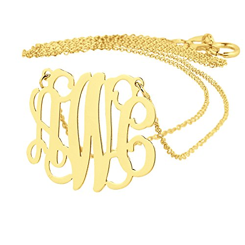 Dainty Solid 10K Yellow Gold 3 Initials Monogram Necklace 3/4 Inch Wide Personalized Pendant. (Yellow Gold Monogram)