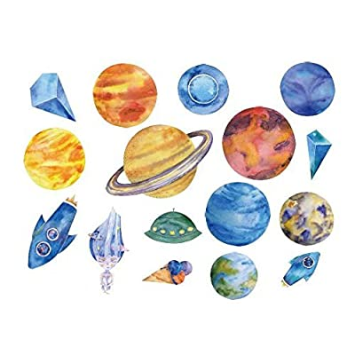 SanerLian Waterproof Temporary Fake Tattoo Stickers Watercolor Blue Planet Rocket Earth Set of 2: Beauty