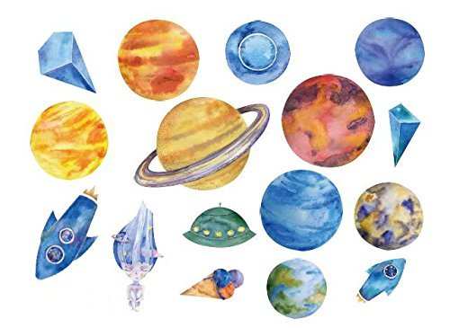 Set of 2 Waterproof Temporary Fake Tattoo Stickers Watercolor Blue Planet Rocket Earth Bb Set Solar System