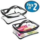 mDesign Clear-View Travel Makeup and Toiletry Tote Bag Storage Organizer with Smooth-Glide Zipper Closure - Perfect for Packing Luggage/Suitcase and Carry-Ons – Medium, Pack of 2, Clear/Black Trim