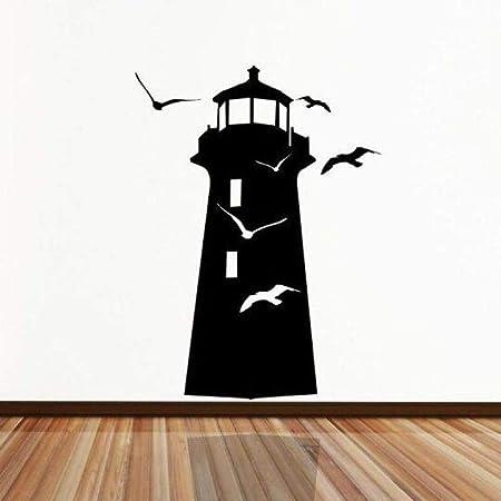 jiushixw Faro Pegatinas de Pared Vinilo Faro Aves Ocean Gull ...