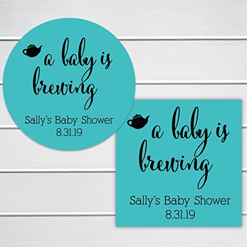 A Baby Is Brewing Shower Favor Stickers (Baby Brewing Shower Favors)